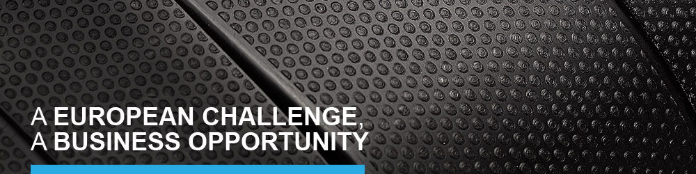 "Micro pattern image and text ""A EUROPEAN CHALLENGE, A BUSINESS OPPORTUNITY"""