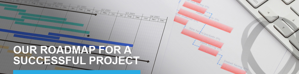 "Gantt diagram and text ""OUR ROADMAP FOR A SUCCESSFUL PROJECT"""
