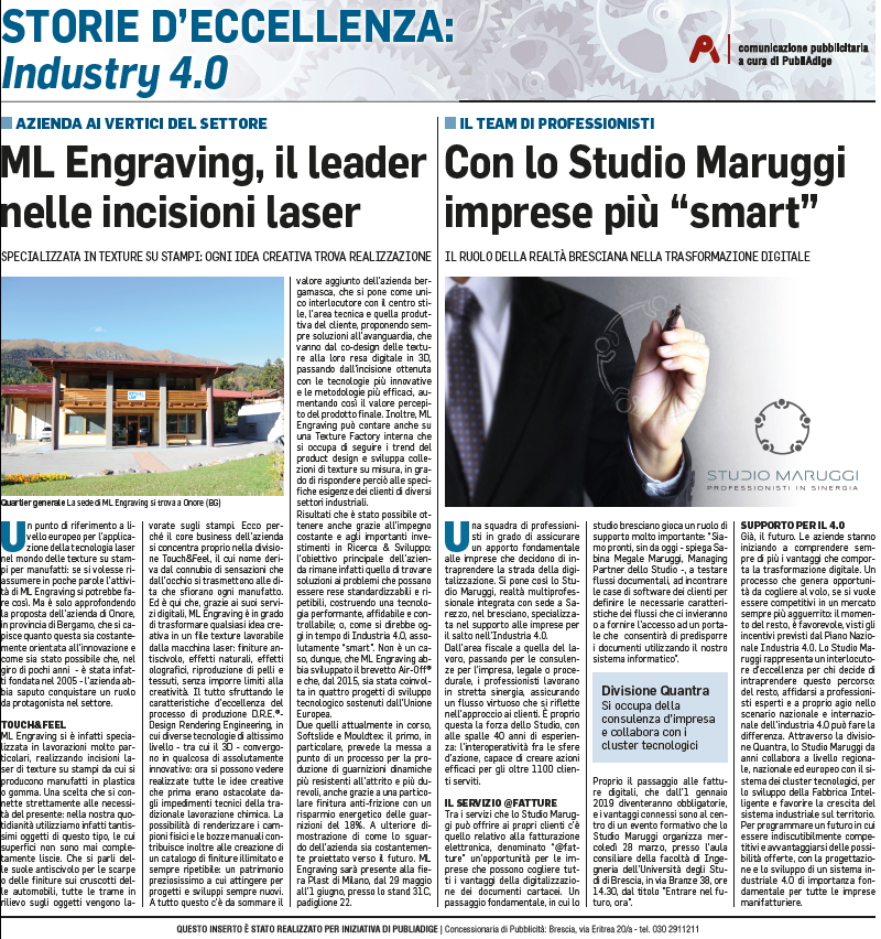ML Engraving and SoftSlide project in Il Corriere della Sera